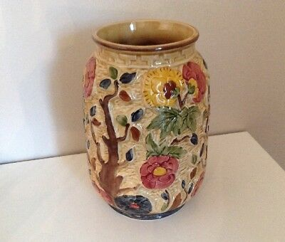 H J Wood Staffordshire -  Indian Tree Majolica Vase - excellent condition