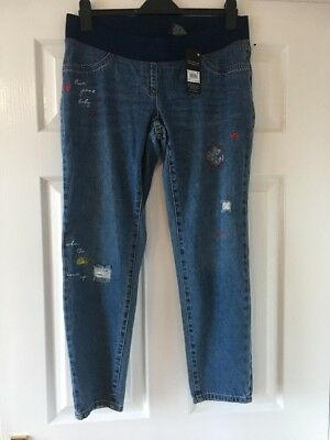 New  Next Maternity Stressed Effect  Slim Slouch Jeans Size 10 Short   £36   bnw