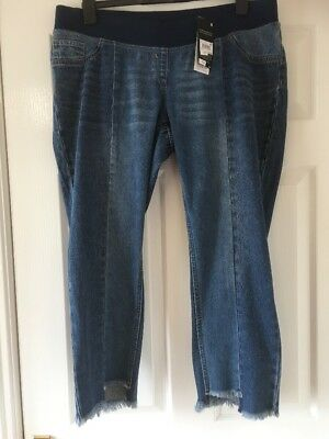 New Next Materity Slim Slouch Crop Jeans Size 12 Short  bnwt  Over Bump