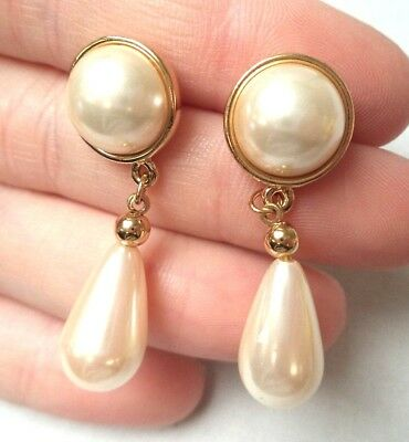 "Stunning Vintage Estate Signed Trifari Faux Pearl 1 1/4"" Pierced Earrings! 9639H"