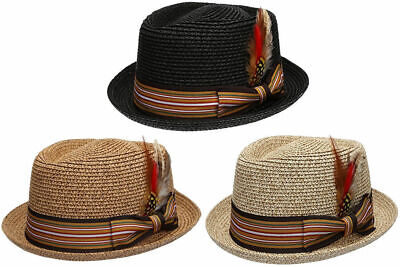 9ca26b0c41b5e Fedora Pork Pie Straw Hat w  Striped Band and Removable Feather Summer Cool  Hat