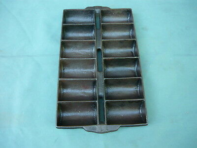 Vintage Cast Iron Muffin Pan/French Roll Pan w/Handles marked 11 and H