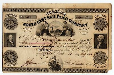 Erie and the North East Railroad Company Stock Certificate - 1856