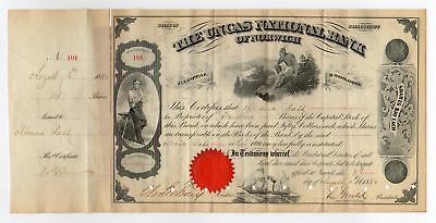 1880 Uncas National Bank of Norwich Stock Certificate