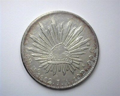 """Mexico 1882-Hoja Silver 8 Reales Nearly Uncirculated+  - """"o"""" Above """"h"""""""