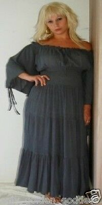 gray peasant dress renaissance smocked sexy s m l  can wear off shoulders zh231
