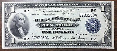 1918 $1 National Currency Federal Reserve Bank New York B783250A NICE!