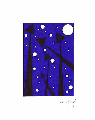 "ORIGINAL ART Signed Ink Drawing  Abstract -- ""Silent Redwoods by Night""  11x14"""
