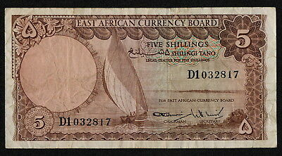 EAST AFRICA (P45) 5 Shillings ND(1964) F+