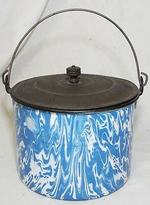 Antique GRANITEWARE Blue & White LARGE SWIRL Pattern COVERED BUCKET LUNCH PAIL