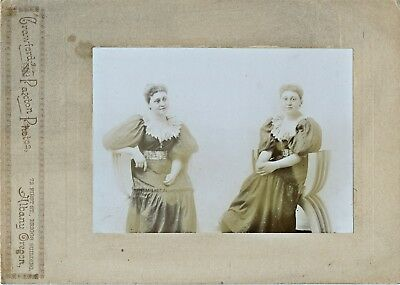 1880-1889 Albany, OR 2 Views of Woman Combined Albumen Cabinet Card Photograph