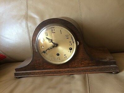 Lovely Early Westminster & Whittington Chiming Wooden Mantel Clock Working Order