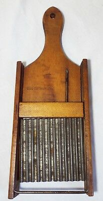Old Antique Unusual WOODEN & METAL Hand Held Sliding GRATER -WORKS- Kitchenware