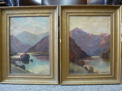 Pair Two Original Old Antique Oil painting Framed Victorian Artist M. Davies