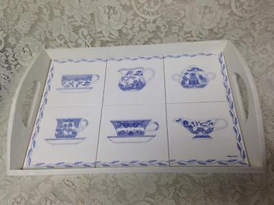 Rare, Custom Made,  Blue Willow Heavy Tiled  Serving Tray 20.5in L x 13.5in W