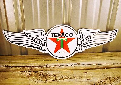 "Texaco Wings Motor Oil Gas Red Star 23.5"" Metal Tin Sign Vintage Garage Station"