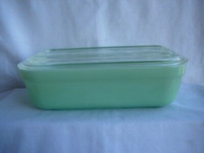 Vintage Fire King Jadite Refrigerator Dish Container With Crystal Lid 4''x8''!!!