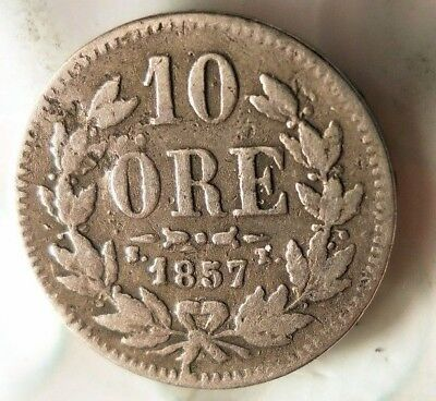 1857 SWEDEN 10 ORE - EXTREMELY Rare Early Date Silver Coin - Lot #521