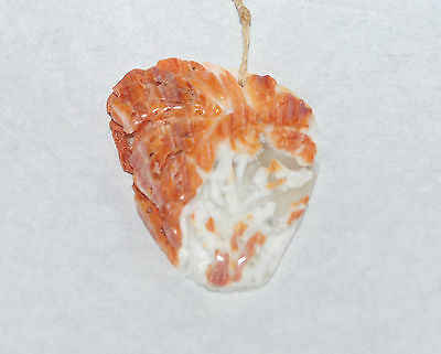 HAND-CARVED SPINY OYSTER FREEFORM PENDANT BEAD - 8646 - 43x36x6MM