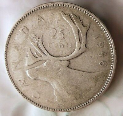 1948 CANADA 25 CENTS - KEY DATE - Hard to Find Date Silver Coin - Lot #521