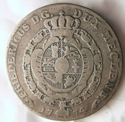 1774 GERMAN STATES (MECKLENBURG) 12 SCHILLING - Rare EARLY Silver Coin- Lot 521