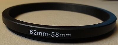62mm to 58mm Step Down Lens Filter Ring Metal DSLR SLR Digital Camera Adapter