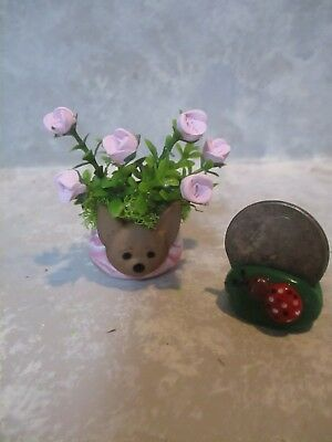 """Miniature FUN 2""""h Mini CHIHUAHUA Dog Polymer vase of Polymer PINK roses"""
