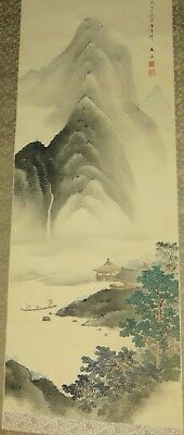 ANTIQUE CHINESE Or JAPANESE Painting MOUNTAINS Scroll SILK