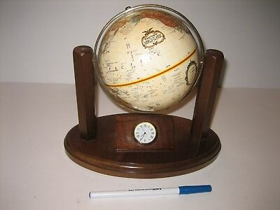 Vintage REPLOGLE World Globe Classic Series FOR Executive Desk WITH CLOCK