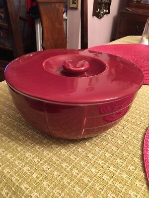 VTG Hall Hotpoint Refrigerator Ware Maroon Covered Bowl 7 1/2""