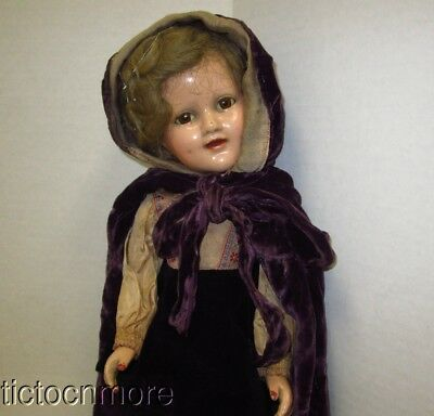 Antique Madam Alexander Sonja Henie Celebrity Composition Doll 1939 Tagged Dress