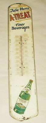* 1950's Tin Litho A Treat Ginger Ale Sode Pop Thermometer Sign 38 Inches Tall