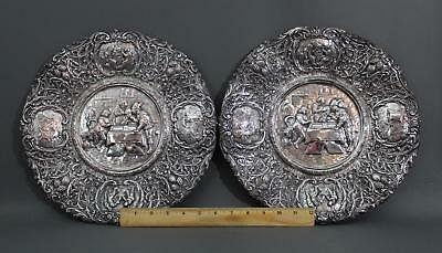 Pair Larg 19thC Antique Victorian Barbour Silverplate Repousse Dutch Scene Trays