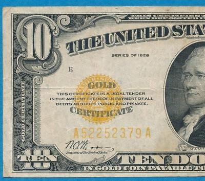 $10. 1928 Gold Seal Gold Certificate  Choice  Very Fine  No Reserve