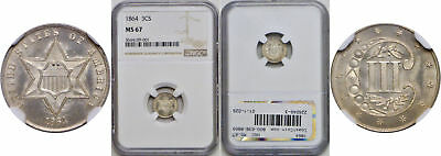1864 Silver Three Cent Piece NGC MS-67