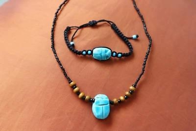 Cute Handmade Egyptian Expandable_BLUE STONE SCARAB BEETLE...Bracelet & Necklace