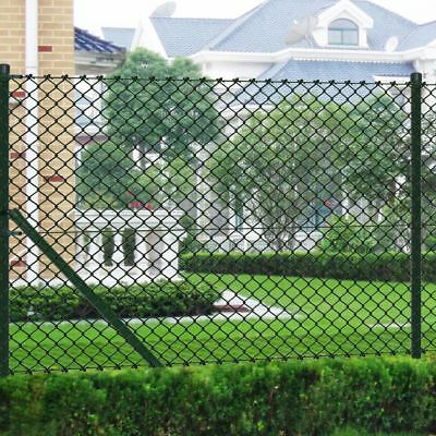 Green 1.5x25m Chain Link Wire Mesh Fence Roll Galvanised Steel w/ Posts Garden