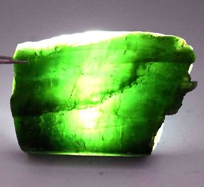 104 Ct Natural Green Translucent Serpentine Earth Mined Facet Top Rough Gemstone