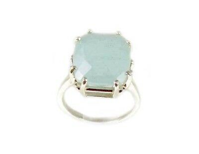 Vintage 8¾ct Aquamarine Checkerboard Ancient Greek Mariner Talisman Silver Ring