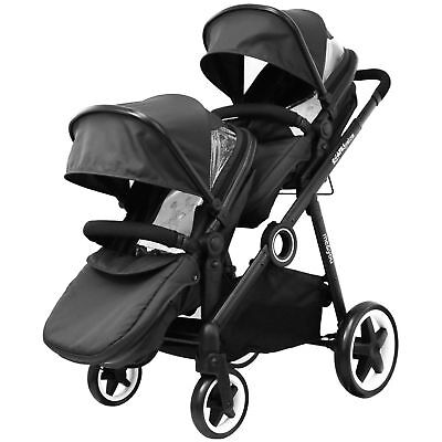 New iSafe Inline Tandem Pram Stroller Buggy With Second Seat & Rain Cover- Black