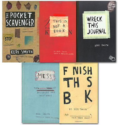 Keri Smith 5 Books Collection Set Wreck This Journal Pocket Scavenger NEW