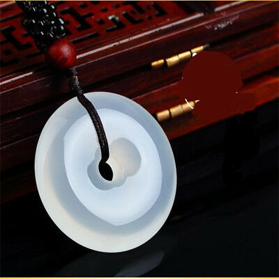 100% Natural Agate Jade  Chinese Icy Agate jade pendant Circle Donut Lucky Amule