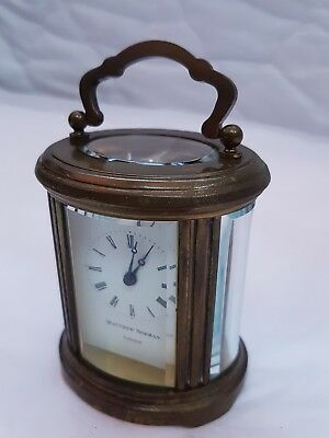 Beautiful MATTHEW NORMAN Rare Oval Timepiece 8 Day Carriage Clock, Fully Working
