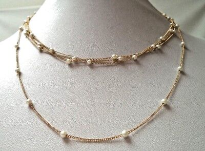 "Stunning Vintage Estate Signed Trifari Faux Pearl Beaded 32"" Necklace!!!! 9643E"