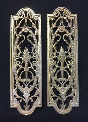 Reclaimed Pair of Antique Brass Door Finger Plates - Ornate Olympic Torch Design