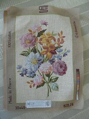 Printed Tapestry Canvas   S.E.G.  15 1/2  x 12 ins.  Flowers.  NEW  No Thread