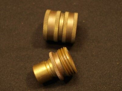 Vintage 2 Piece Solid Brass Metal Water Hose Push Quick Disconnect Adapter EXC