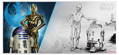 2018 Niue Star Wars New Hope - R2-D2 and C-3PO Foil Note 5 g Silver BU SKU52864