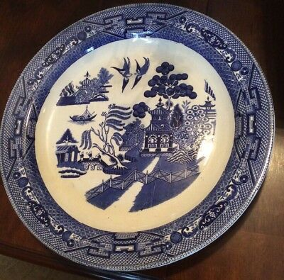 "Antique Buffalo Pottery, Blue Willow 13"" ROUND CHOP Platter, Semi-Vitreous 1908"