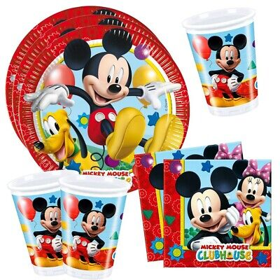 Set Party | Einweg-Geschirr Mickey Mouse | Micky Maus |Teller Becher Servietten